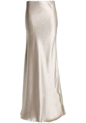 Amanda Wakeley Woman Open Knit-trimmed Fluted Silk-satin Maxi Skirt Neutral Size 12