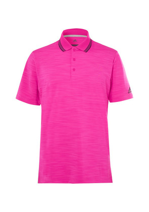 Adidas Golf - Ultimate 365 Contrast-tipped Mélange Stretch-jersey Polo Shirt - Pink