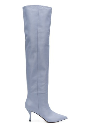 Circus Hotel over knee heeled boots - Blue