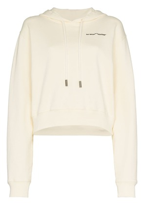 Off-White White logo embroidered cropped long sleeve cotton hoodie