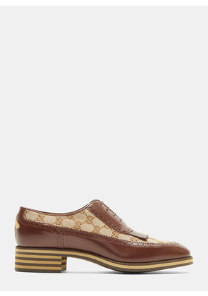 Gucci GG Leather Derby Shoes in Brown size UK - 11