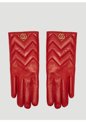 Gucci Marmont Chevron Leather Gloves in Red size 7.5
