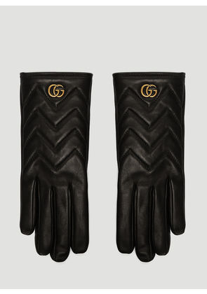 Gucci Marmont Chevron Leather Gloves in Black size 8