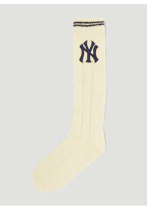 Gucci NY Yankees Ribbed Wool Socks in Cream size M