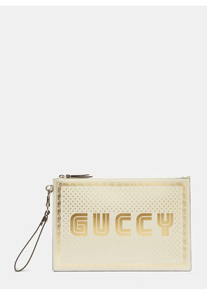 Gucci Guccy Print Pouch in White size One Size