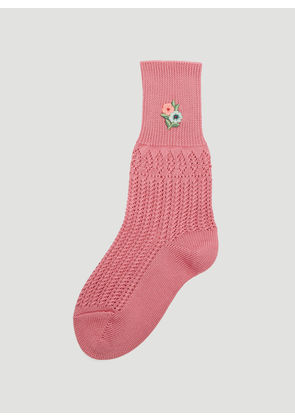 Gucci Floral Embroidered Crochet Socks in Pink size M