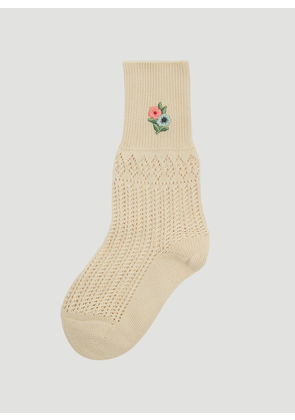 Gucci Floral Embroidered Crochet Socks in Beige size M