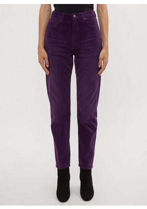 Saint Laurent Slim-Fit Corduroy Pants in Purple size 26