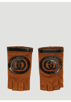 Gucci Logo Suede Fingerless Gloves in Brown size 8