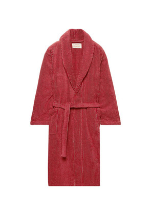 Cleverly Laundry - Striped Cotton-terry Robe - Brick