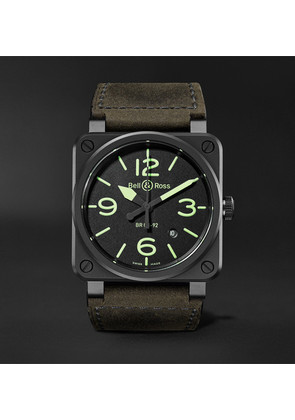 Bell & Ross - Br03-92 Nightlum Automatic 42mm Ceramic And Leather Watch - Black