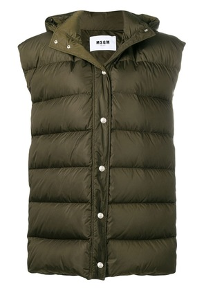 MSGM padded button gilet - Green