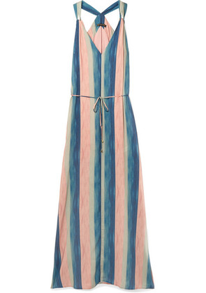 ViX - Mani Julie Belted Striped Voile Maxi Dress - Blush