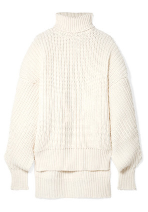 A.W.A.K.E. - Oversized Cutout Wool Turtleneck Sweater - Cream