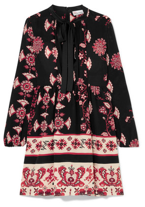 REDValentino - Pussy-bow Floral-print Silk Mini Dress - Black