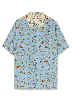 Marni - Two-tone Printed Silk Crepe De Chine Shirt - Blue