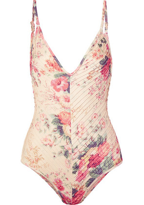 Zimmermann - Laelia Pintucked Floral-print Swimsuit - Cream
