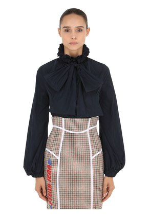 TECH NYLON SHIRT WITH BOW
