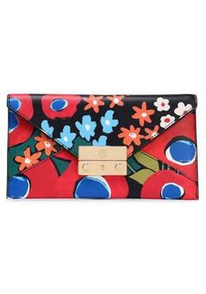 Tory Burch Woman Juliette Floral-print Leather Wallet Red Size -