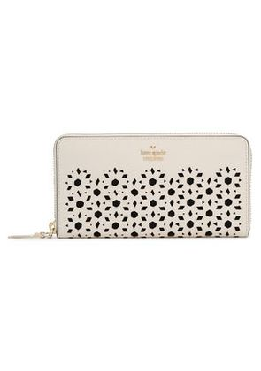 Kate Spade New York Woman Laser-cut Textured-leather Continental Wallet Off-white Size -