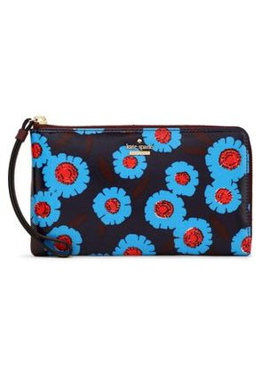 Kate Spade New York Woman Floral-print Coated-canvas Wallet Navy Size -