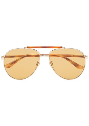 Gucci Brown and gold GG0014 aviator sunglasses