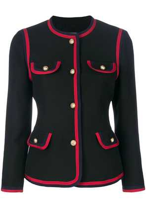 Gucci contrast piping fitted blazer - Black