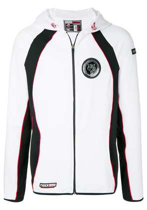 Plein Sport logo patch zipped jacket - White
