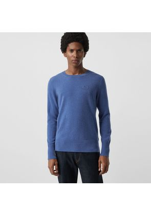 Burberry Embroidered Logo Cashmere Sweater, Blue