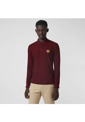 Burberry Long-sleeve Archive Logo Cotton Piqué Polo Shirt, Red