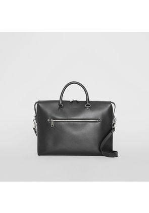 Burberry Large Textured Leather Briefcase, Black