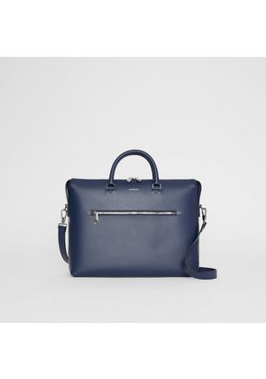 Burberry Large Textured Leather Briefcase, Blue
