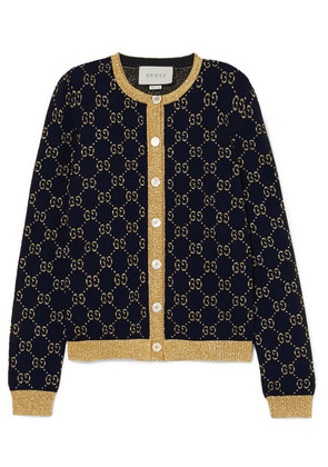 Gucci - Metallic Cotton-blend Jacquard Cardigan - Navy