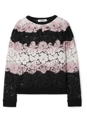 Valentino - Jersey-trimmed Corded Cotton-blend Lace Sweatshirt - Black