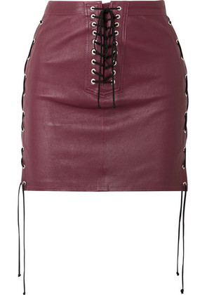Unravel Project - Lace-up Leather Mini Skirt - Burgundy