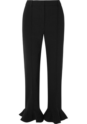 Valentino - Ruffled Cady Straight-leg Pants - Black
