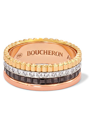 Boucheron - Quatre Classique Small 18-karat Yellow, Rose And White Gold Diamond Ring - 50