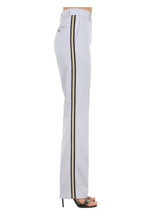 STRAIGHT WOOL TWILL PANTS W/ SIDE BANDS