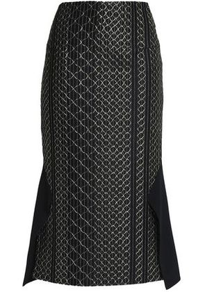 Roland Mouret Woman Margate Fluted Metallic Embroidered Crepe Skirt Black Size 8