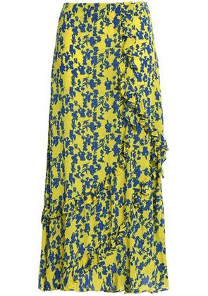 Preen Line Woman Hattie Ruffle-trimmed Floral-print Crepe Midi Skirt Chartreuse Size S