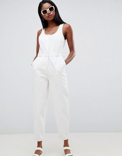 b7d7db4884 ASOS DESIGN denim white zip front jumpsuit