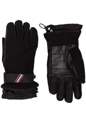 Moncler Grenoble black panelled logo ski gloves