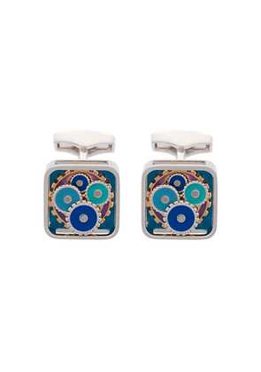 Tateossian Enamel Blues Gear Square Cufflinks - Metallic