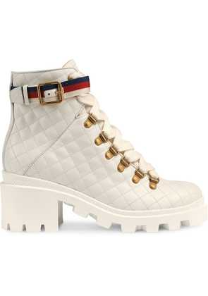 Gucci Quilted leather ankle boot with belt - White