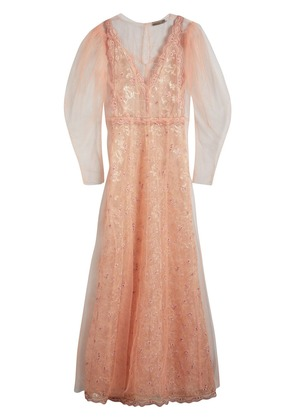 Burberry Floral-embroidered Puff-sleeve Dress - Pink