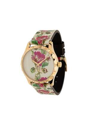 Gucci rose print gold plated watch - Multicolour