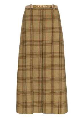 Gucci logo belt check wool skirt - Brown