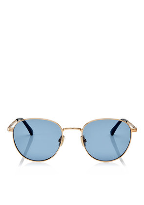 HENRI/S 53 Gold Oval Metal Sunglasses with Blue Lenses
