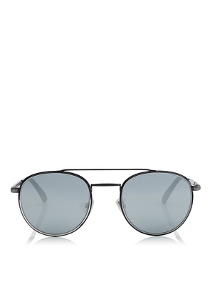 DAVE Black and Silver Oval Sunglasses with Mirror Lenses