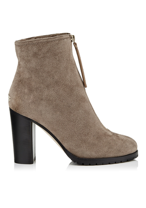 BRAYDEN 95 Stone Suede Booties with Stone Shearling